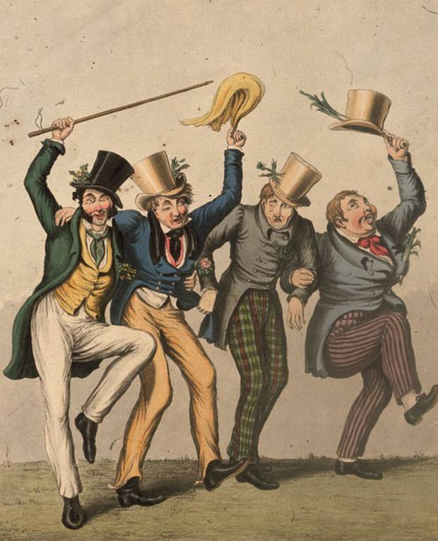 The four patron saints of Great Britain, (from left to right) St Patrick of Ireland, St George of England, St Andrew of Scotland and St David of Wales on a drunken spree. They are identified by their national symbols, the shamrock, the rose, the thistle and the leek. Circa 1850.