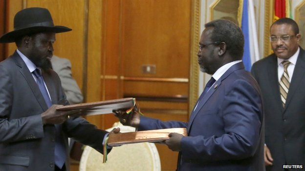 President Salva Kiir [L] and Former Vice President Riek Machar [R]