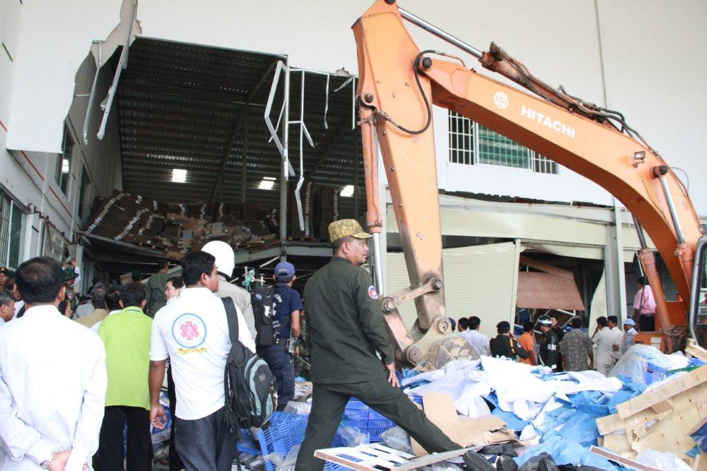 Aftermath of ceiling collapse at Cambodia's Wing Star Shoes Factory
