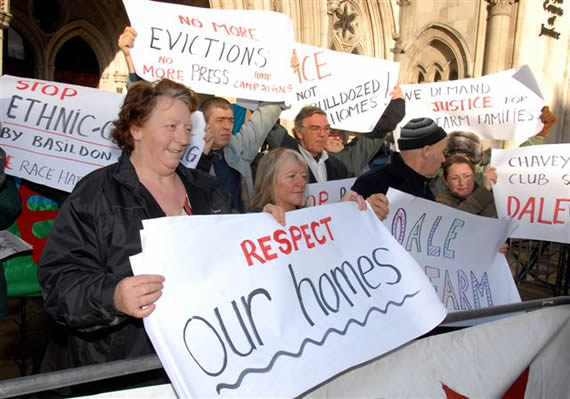 Dale Farm Travellers Protesting outside Parliament