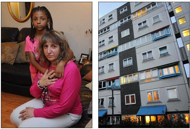 Image of Maite de la Calva and her daughter next to an image of their block of flats