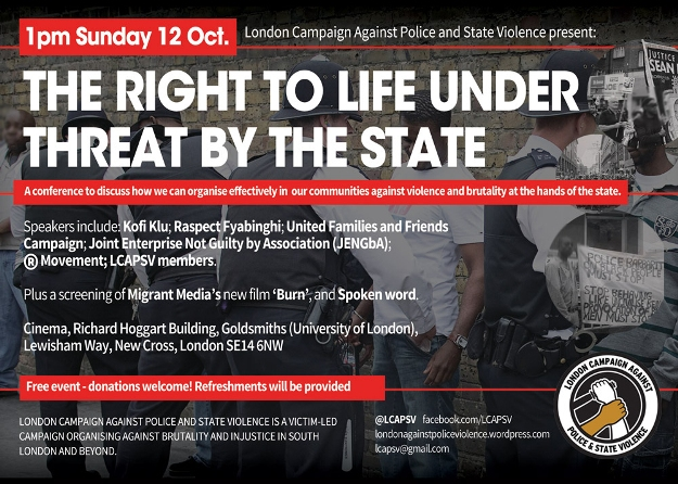 LCAPSV flyer: The right to life under threat by the state