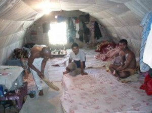 One of the Manolada tent homes