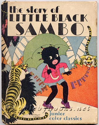 A book featuring a gollywog child surrounded by tigers called Little Black Sambo