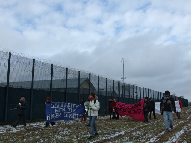 Activists showing solidarity with Yarl's Wood Hunger Strikers